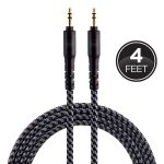 EcoSurvivor 4 ft. 3.5mm Audio Cable with Braided Cord, Black/Gray