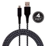 EcoSurvivor 4 ft. Micro USB Charging Cable with Braided Cord, Black/Gray